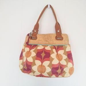 Fossil Flower Purse Key-Per Coated Canvas handbag
